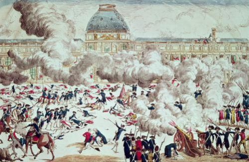 Attack on the Tuileries 1792 by French School