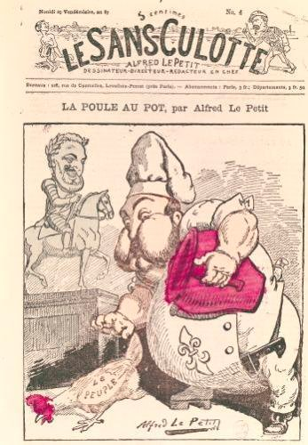 'Le Poule au Pot' caricature of Henri Charles Ferdinand Marie Dieudonne by Alfred Le Petit