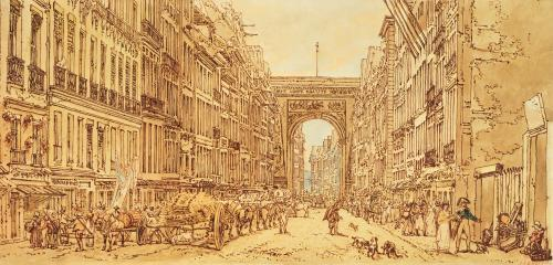 The Faubourg and the Porte Saint-Denis 1801 by Thomas Girtin