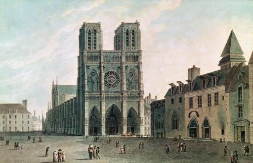 The Square in Front of Notre-Dame at the Time of the Consulat 1799 by Angelo Garbizza
