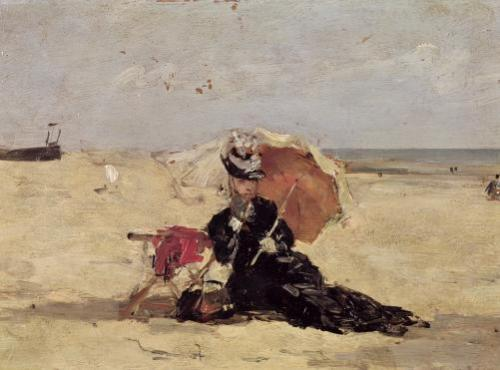 Woman with a Parasol on the Beach 1880 by Eugene Louis Boudin