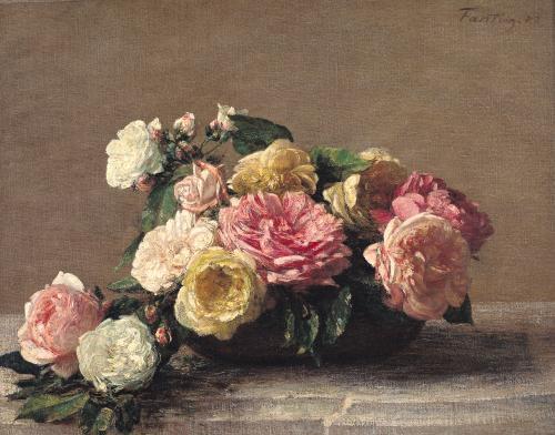 Roses in a Dish 1882 by Ignace-Henri-Théodore Fantin-Latour