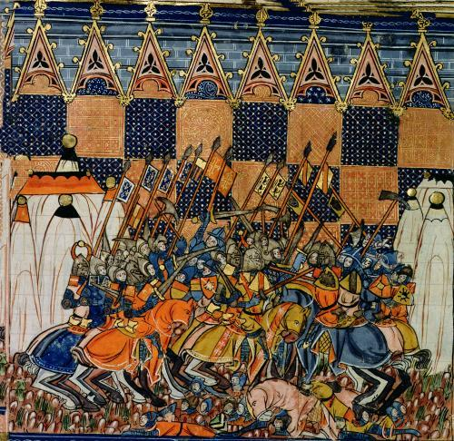 Battle scene from  'A History of Western Saints' by French School