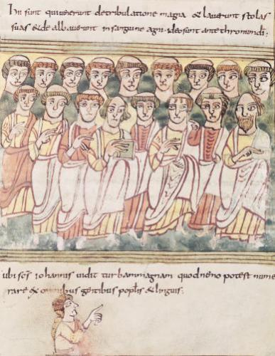 Group of seventeen men from the Apocalypse de Valenciennes by German School