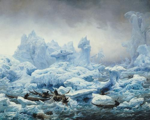 Fishing for Walrus in the Arctic Ocean 1841 by Francois Auguste Biard