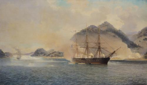 Naval Battle of the Strait of Shimonoseki 1865 by Jean Baptiste Henri Durand-Brager