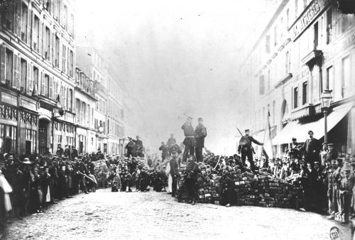 Barricade in the Rue de Flandre during the Commune of Paris1871 by Anonymous