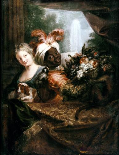Young Black Man Holding a Basket of Fruit and a Young Girl by Antoine Coypel