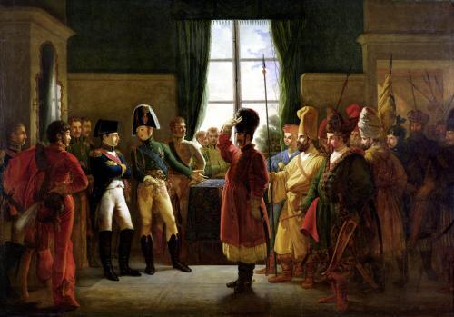 Alexander I Presenting the Kalmuks Cossacks and Bashkirs to Napoleon I by Pierre-Nolasque Bergeret