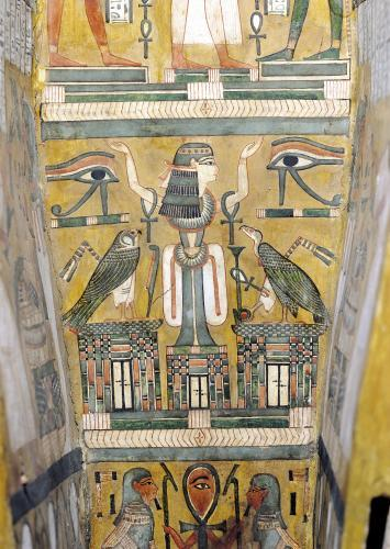 Interior of the coffin of Imenemipet depicting the wadjet eye and a woman with raised arms by Egyptian Art