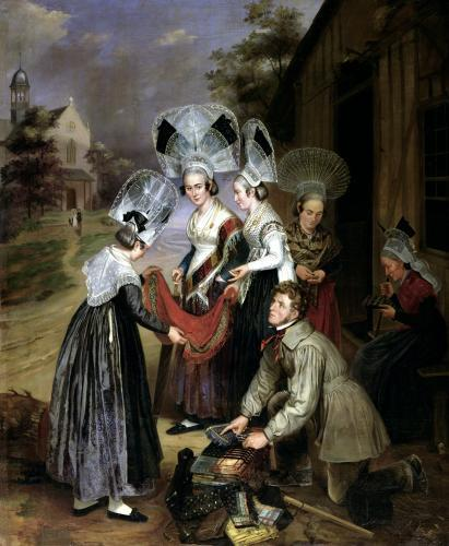 A Peddler Selling Scarves to Women from Troyes by Henri Valton