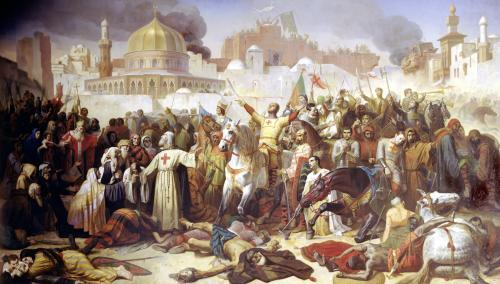 Taking of Jerusalem by the Crusaders 1847 by Emile Signol