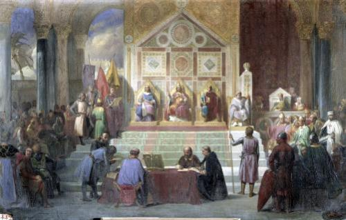 St. Louis King of France Receiving Robert Patriarch of Jerusalem by Oscar Gue