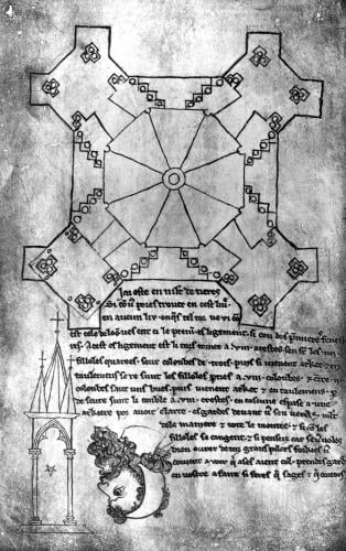 Facsimile copy of a plan of the tower of Laon Cathedral by Villard de Honnecourt