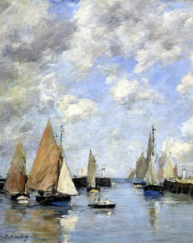 The Jetty at High Tide Trouville by Eugene Louis Boudin