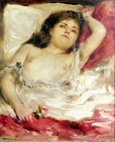Semi-Nude Woman in Bed' The Rose by Pierre Auguste Renoir