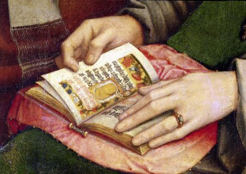 Virgin and Child with Saints detail of an book c.1509 by Gerard David