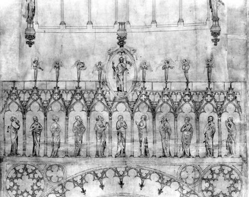 Design for the gallery of kings on the facade of Strasbourg Cathedral c.1380 by French School
