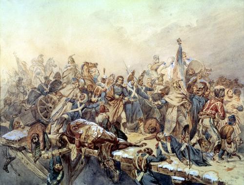 Baron Dominique Larrey Crossing the Berezina 1812 by Alexandre Solde
