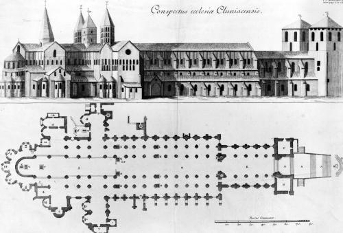 Plan and elevation of Cluny Abbey by Pierre Giffart
