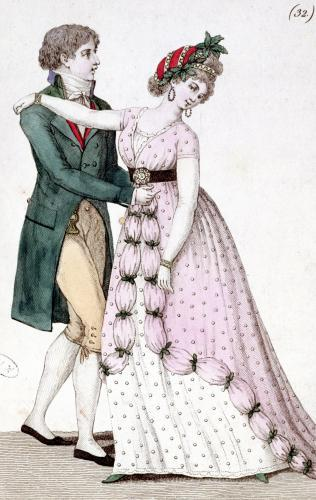 Elegant Couple Dancing the Waltz from 'Costume Parisien' by French School