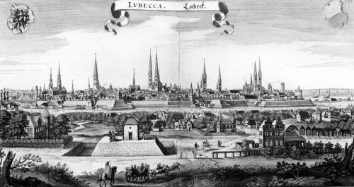 View of Lubeck by Matthaus Merian the Elder