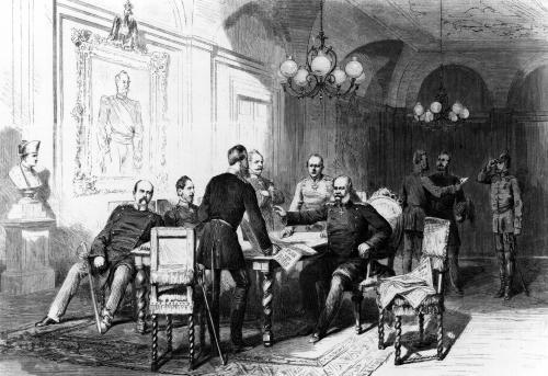 War council at Versailles Prefecture  illustration from 'Illustrierte Zeitung' by German School