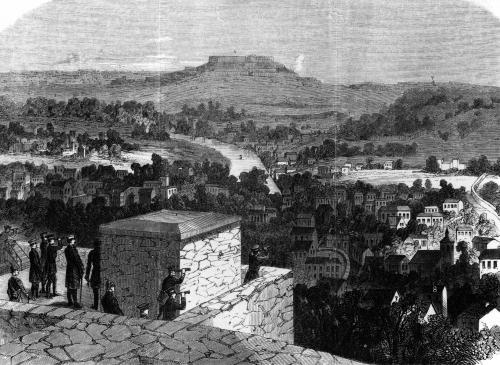 Mount Valerien seen from Louveciennes illustration from 'Illustrierte Zeitung' by German School