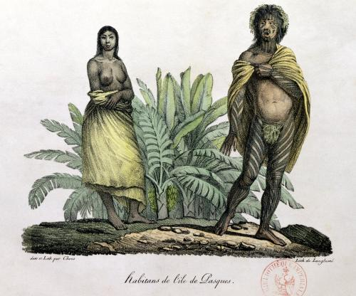 Inhabitants of Easter Island from 'Voyage Pittoresque Autour du Monde' by Ludwig Louis Choris