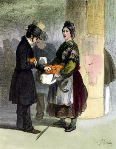 The Orange Seller from 'Les Femmes de Paris' 1841 by Alfred Andre Geniole