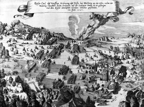 General view of the battle of Muhlberg 1547 (I) by German School