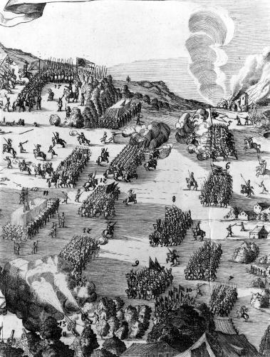 General view of the battle of Muhlberg 1547 (II) by German School