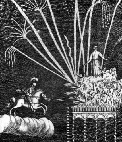 Treatise of Bonfires illustration from 'Pratique de la Guerre' by French School