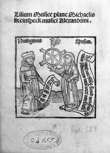 Pythagoras and Music title page from 'Lilium Musicae' by German School