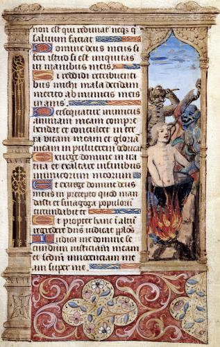 Page with a border detail of a man being tortured by two demons by French School