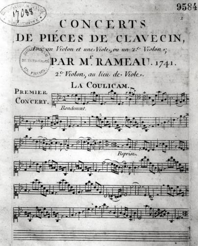 Score sheet for 'Concerts de Pieces de Clavecin' by L. Hue