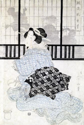 A Courtisan with a Shamisen by Kikugawa Eizan