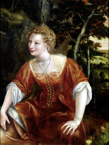 Young Girl in a Landscape by Jan Massys