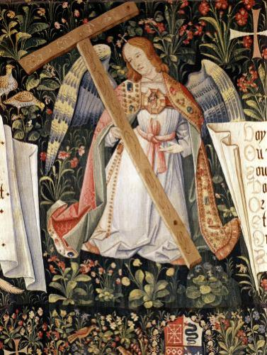 An angel carrying the cross from a tapestry by French School