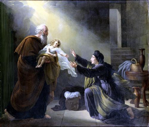 Elijah Resuscitating the Son of the Widow of Sarepta by Louise Marie Jeanne Hersent