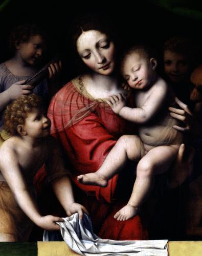 Madonna and sleeping Child with three angels 1532 by Bernardino Luini