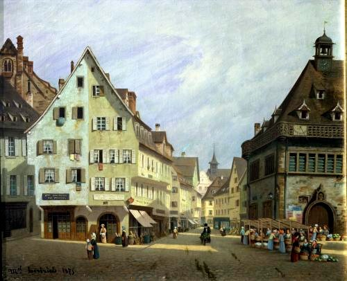 Place du Marche-aux-Fruits Colmar 1875 by Michel Hertrich