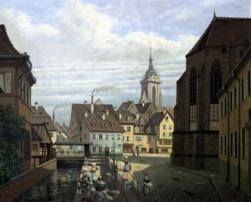 Place des Dominicains Colmar 1876 by Michel Hertrich