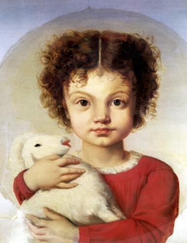 Portrait of the Artist's Daughter Lina by Luigi Calamatta