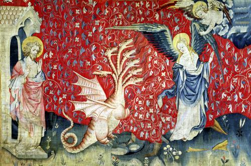 The Woman Receiving Wings to Flee the Dragon 1373 by Nicolas Bataille