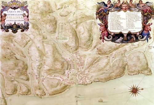 Map of the town and citadel of Bellisle from the 'Atlas Louis XIV' 1683 by Sebastien Le Prestre de Vauban