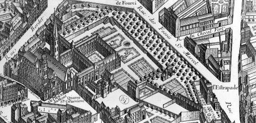 Plan of Paris 'Plan de Turgot' 1734 (detail) by Louis Bretez