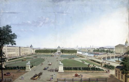 View of the Place Louis XV and the Jardin des Tuileries 1815 by Henri Courvoisier-Voisin