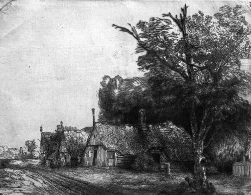 Landscape with Three Cottages 1650 by Rembrandt