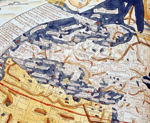 Map of central Europe 1486 by Ptolemy Claudius Ptolemaeus of Alexandriac